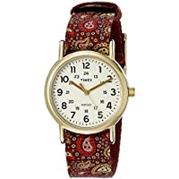 Women's TW2P741009J Weekender Collection Gold-Tone Stainless Steel Watch with Paisley-Printed Band