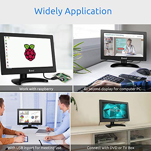 Eyoyo 12 inch HDMI Small TV Monitor, Portable Kitchen TV 1366x768 16:9 LCD Screen Support TV/HDMI/VGA/AV/USB Input with Remote Control, Wall Mount Bracket for DVD PC Raspberry pi Computer by Eyoyo (Image #7)