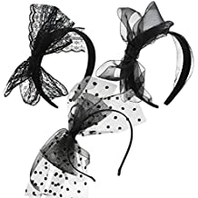 Hicarer 3 Pieces 80's Party Lace Headband with Bow 80s Costumes Accessories for Women