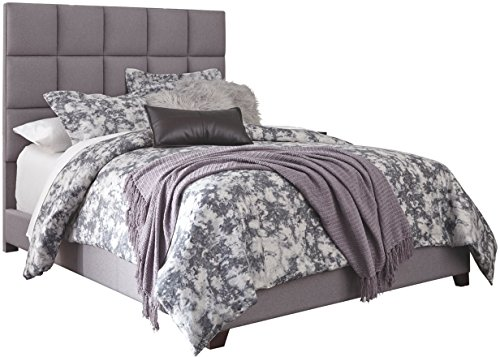 Headboard Complete Set Queen - Ashley Furniture Signature Design - Dolante Upholstered Bed - Queen Size - Complete Bed Set in a Box - Contemporary Style Checker - Gray