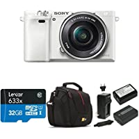 Sony Alpha a6000 Mirrorless Digital Camera with 16-50mm Power Zoom Lens (White) Deluxe Bundle