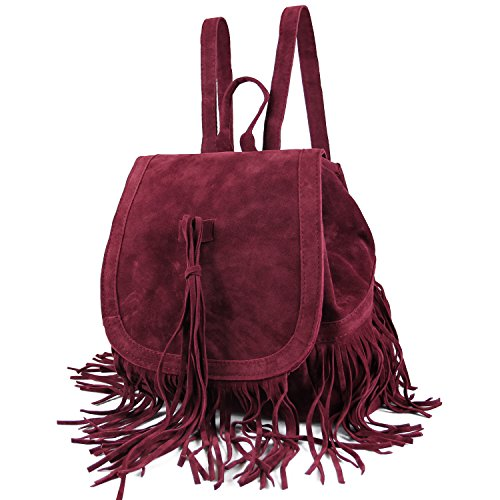 Leather Women's Capacity Satchel SUI LUI Large Faux Fringed Backpack Tassel Fashion Bag Suede Red Hippie Casual XSRqBwqx1