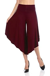 216e5ee6f85e41 Ferbia Palazzo Pants Yoga Sweat Womens High Slit Solid Flowy Crooped ...