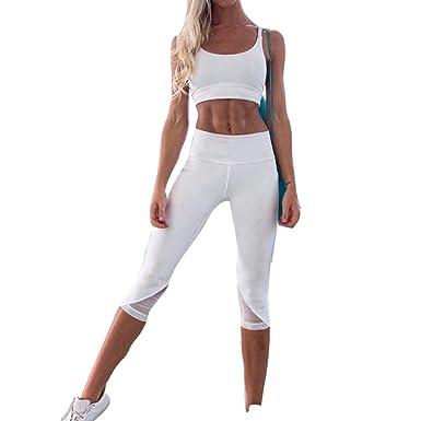 Juleya Mujer Chandal Sexy Ropa de Deporte Yoga Set 2 Piezas ...
