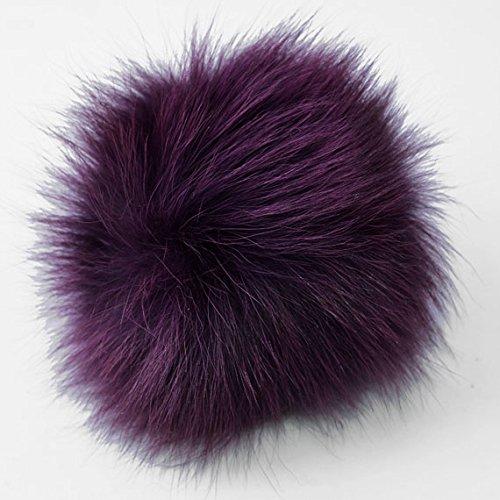 Natural Fox Fur Pom Pom balls by pc, Approx. 4 to 5, Purple, TR-11081