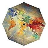 BAIHUISHOP Vintage World Map Windproof Rain Umbrellas Auto Open Close 3 Folding Strong Durable Compact Travel Umbrella Uv Protection Portable Lightweight Easy Carrying