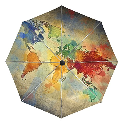 BAIHUISHOP Vintage World Map Windproof Rain Umbrellas Auto Open Close 3 Folding Strong Durable Compact Travel Umbrella Uv Protection Portable Lightweight Easy Carrying by baihuishop