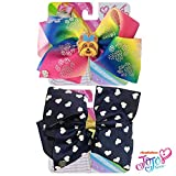Jojo Siwa Bow for Girls Bundle, 2 Bows and 3 Pack Bracelet - Rainbow Bow with Puppy and Paw Prints and Navy with White Hearts Hair Bow