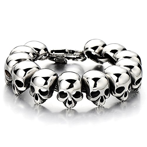Mens Stainless Steel Large Skull Link Bracelet Biker Gothic Style Silver Color High Polished