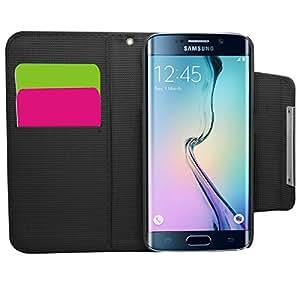 SAMRICK Funda Monedero 2-en-1 de Ejecutivo de libro de cuero con el sostenedor de la tarjeta de crédito, correa de mano y desmontable del estuche rígido para Samsung Galaxy S6 Edge - Negro