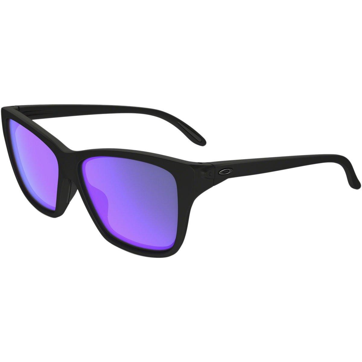 Oakley Women's OO9298 Hold On Irregular Sunglasses, Matte Black/Violet Iridium, 58 mm by Oakley