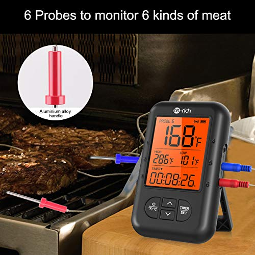 Wireless Meat Thermometer, Te-Rich Bluetooth Digital Food Grill Thermometer [Oven Safe/Timer/App Connected/] with 6 Temperature Probe for Smoker Grilling BBQ Turkey Kitchen Cooking Thermometer