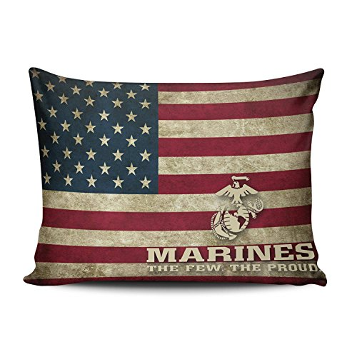 ZeDae Pillowcase Personalized Flag of the United States Usmc Marine Corps Pattern Cushion Pillowcases Plush Home Decorative Throw Pillow Covers Cases Boudoir 12x20 Inches One - States Personalized United Marine