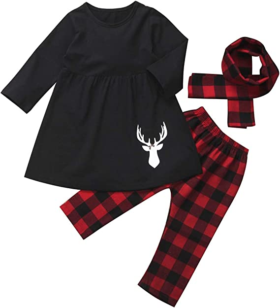 12 18 Months 2T 3T 4T 5 6 7 8 Toddler Girls Winter Tartan Plaid Deer Bell Sleeve Ruffle Tunic /& Leggings Holiday Christmas Outfit