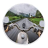 VAMIX Thick Round Beach Towel Blanket,Man Cave Decor,Biker Rides Motorcycle Highway Lifestyle Speed Adventure Foggy Rural Area Decorative,Multicolor,Multi-Purpose Beach Throw£¬