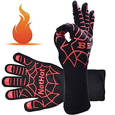 """BBQ Gloves 932°F Heavy Duty Oven Mitts Heat Resistant Gloves for Outdoor Safety Work Kitchen Grilling Cooking Pot Holder 14"""" Long Protection"""