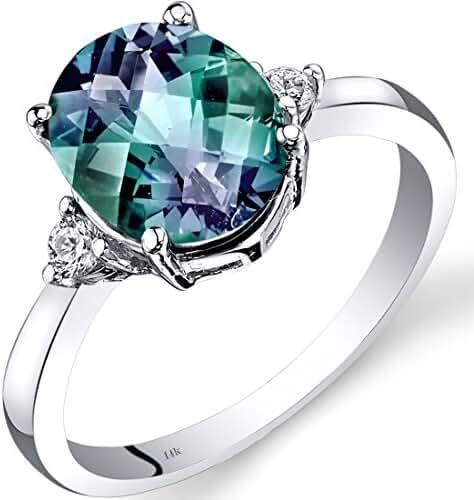 14K White Gold Created Alexandrite Diamond Ring 3.00 Carat Oval Cut