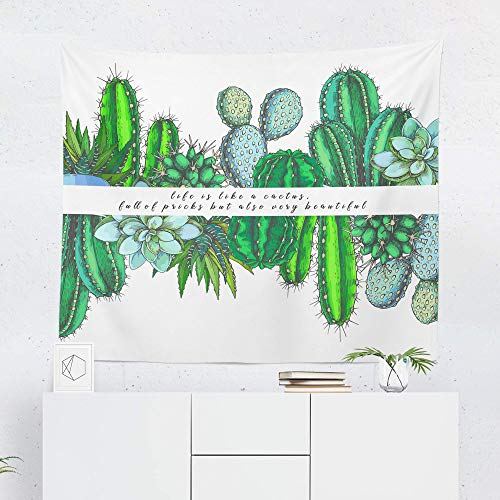 Cactus Tapestry Wall Hanging Quote Succulent Garden Cacti Tapestries Dorm Room Bedroom Decor Art – Printed in the USA – Small to Giant Sizes