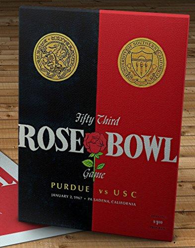 (1967 Vintage Rose Bowl - USC Trojans - Purdue Boilermakers Football Program - Canvas Gallery Wrap - 12 x 16)