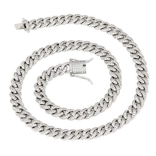 GOLD IDEA JEWELRY 8mm Mens Iced Out Hip Hop CZ Miami Cuban Link Chain 18-24 Inches Miami Cuban Link Chain (22, White-Gold-Plated)