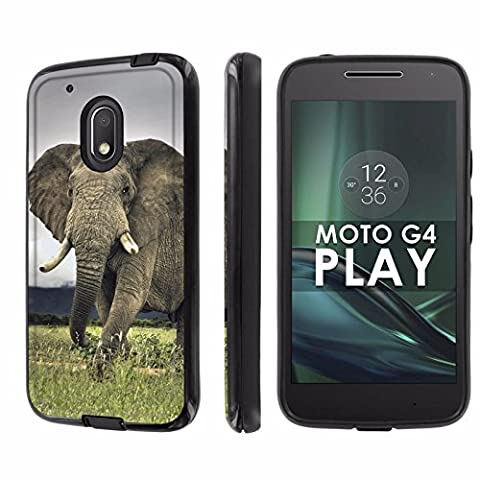 Motorola Moto G Play [4th Gen] Phone Case [NakedShield] [Black/Black] Dual Armor ShockProof Case - [Elephant] for Moto [G4 (Motorola G Glass Covers)