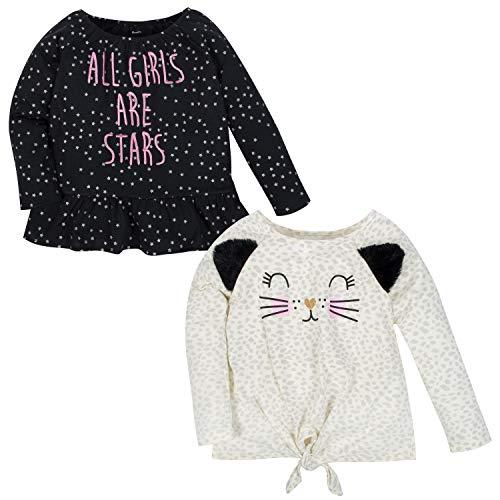 Gerber Baby Girls' 2-Pack Tops, Leopard/Stars, 12 Months