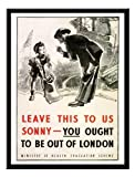 Iposters You Ought To Be Out Of London'' War Print 1940s Magnetic Memo Board Black Framed - 41 X 31 Cms (approx 16 X 12 Inches)