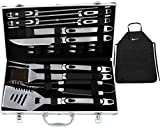 ROMANTICIST BBQ Tools Set - 20PCS BBQ Grill Tools Set w Non Slip Handle - Heavy Duty Stainless Steel Barbecue Grilling Utensils in Aluminum Storage Case - Premium Grilling Accessories for Barbecue
