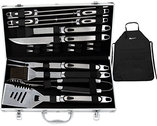 Bbq Tool (ROMANTICIST BBQ Tools Set - 20PCS BBQ Grill Tools Set w/ Non Slip Handle - Heavy Duty Stainless Steel Barbecue Grilling Utensils in Aluminum Storage Case - Premium Grilling Accessories for Barbecue)
