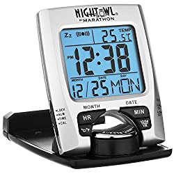 MARATHON CL030023 Travel Alarm Clock with Calendar & Temperature - Battery Included