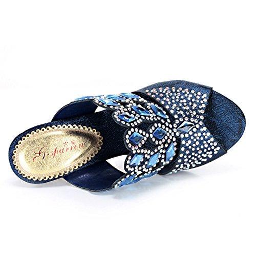 Meijili ,  Damen Plateau Heels-Blue