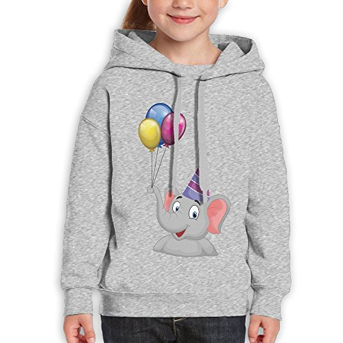 Bruins Piggy Bank (Grass8 Elephant Has Balloons On Its Nose Youth Custom Hoodie 100% Cotton Fashion Keep Warm Sweatshirt Hooded Pullover For Girls & Boys L Ash)