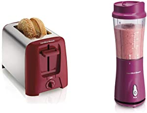 Hamilton Beach 2 Slice Extra Wide Slot Toaster, Red (22623) & Beach Personal Blender for Shakes and Smoothies with 14oz Travel Cup and Lid, Raspberry (51131)
