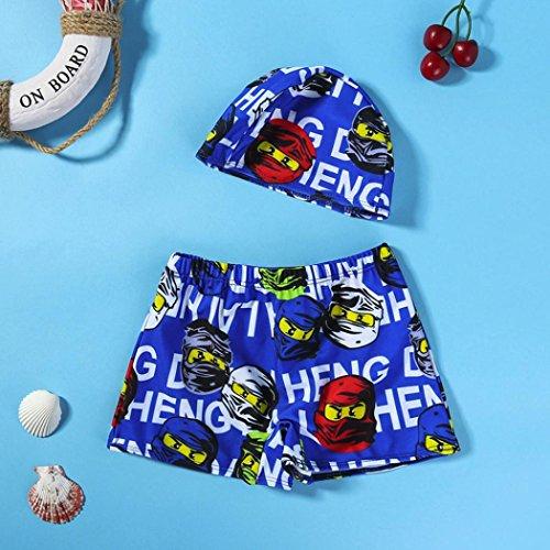 Omiky® 2Pcs Kinder Baby Boys Stretch Strand Badeanzug Bademode Badehose Shorts + Hat Set Dunkelblau