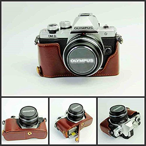 BolinUS Handmade Genuine Real Leather Half Camera Case Bag Cover for Olympus OM-D E-M10 EM10 Mark II Bottom Opening Version + Hand Strap - Coffee by BolinUS