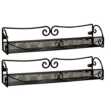 DecoBros 2 Pack Wall Mount Single Tier Mesh Spice Rack, Bronze