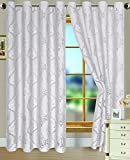 RT Designers Collection Danika Clipped Jacquard 54 x 84 in. Grommet Curtain Panel, White