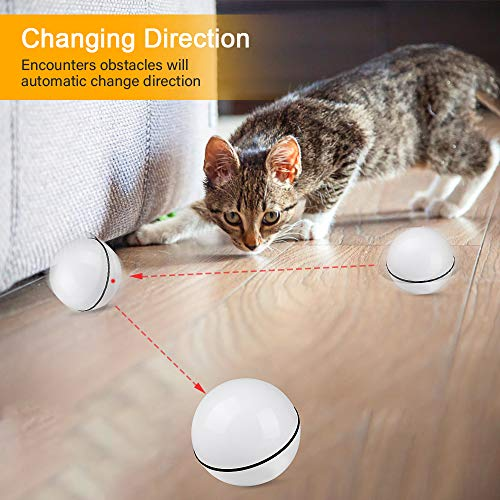 Unibelin Interactive Cat Toy Ball-Smart Pet Toy Self Rotation Rolling Ball USB Rechargeable Built-in LED Light for Cat Kitty Exercise Chase Play 4