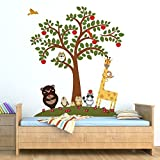Walplus Removable Wall Stickers Animal Friends And Apple Tree, Nursery Kid's Room, 152 Cm X 173.5Cm, Multi - Colour
