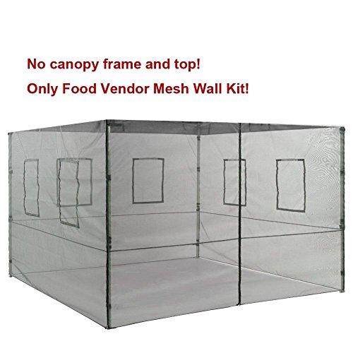 Eurmax 4 Sidewalls Zipper End Enclosure Wall Kit for Eurmax Pop up Canopy Tent Gazebo (Food Vendor Mesh, 10x10)