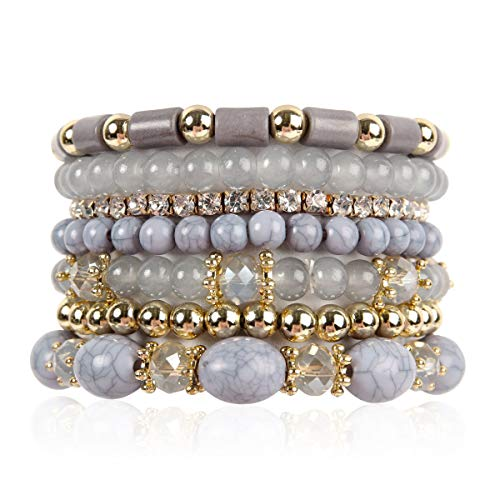 RIAH FASHION Multi Layer Bead Bracelet - Colorful Stacking Beaded Strand Stretch Cuff Statement Bangles Set (Gray)