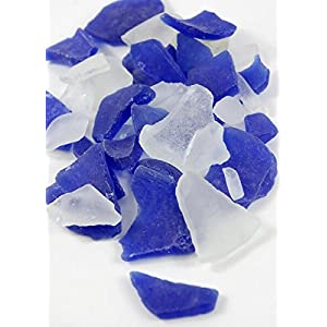 Sea Glass in Frosted Blue & White 3lb, Centerpiece Vase Filler Bulk Beach Seaglass - Excellent Home Decor - Indoor & Outdoor 40