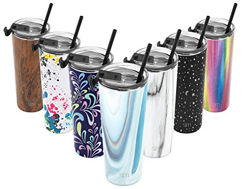 Simple Modern 24oz Classic Tumbler Travel Mug with Clear Flip Lid & Straw - Coffee Vacuum Insulated Gift for Men and Women Beer Pint Cup - 18/8 Stainless Steel Water Bottle Pattern: Ocean Quartz]()