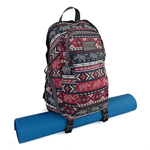 Kindfolk Yoga Mat Backpack Two Straps Patterned Canvas (Karma)