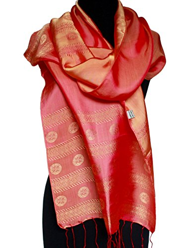 Silk New Shawl Scarf (NEW! Fandori Satin Silk Scarf/ Shawl with Contrasting Colors)
