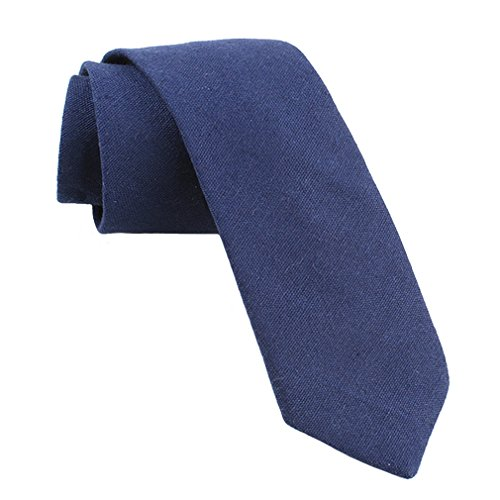 Cotton Tie Linen (Levao Men's Cotton Skinny Necktie Solid Color Tie Navy Blue257)