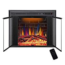 R.W.FLAME Electric Fireplace Insert, Traditional Antiqued Build in Recessed Electric Stove Heater, Glass Door and Mesh Screen,Touch Screen,Remote Control,750W-1500W with Timer, Colorful Flame Option … …