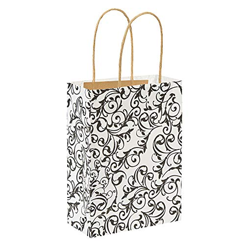 Fun Express Medium Black & White Kraft Paper Gift Bags | 12 Count | Great for Wedding Party, Bridal Shower, Engagement Party, Birthday Celebration, Party -