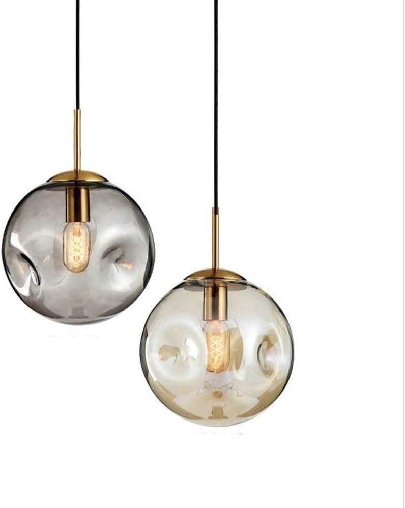 Pendiente de la vendimia luz de techo de la lámpar Pantalla LED de color ámbar E27 Bola de cristal de la lámpara simple dormitorio lámpara de cabecera de la lámpara 5W Con tricolor LED de luz de la lá