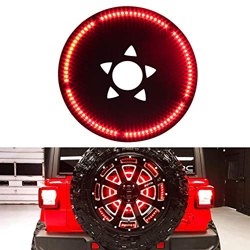 SUNPIE Jeep JL Third Brake Light Spare Tire LED Ring Designed for 2018 2019 Wrangler JL JLU Models with Back Up Camera (Enlarged Center Hole)